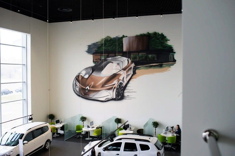 Mural at the Renault car showroom
