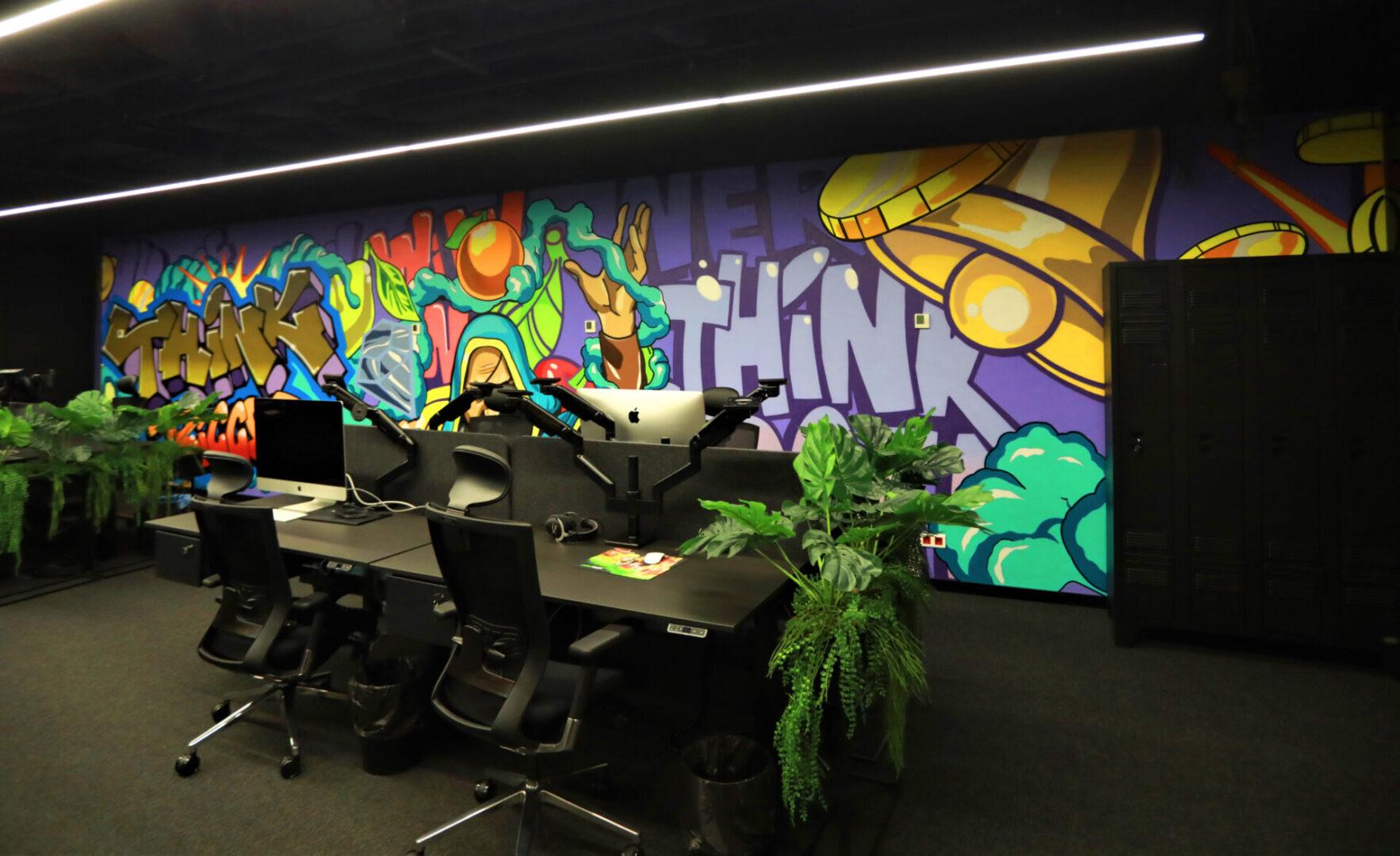 Художественное оформление офиса IT компании рисунок колокола