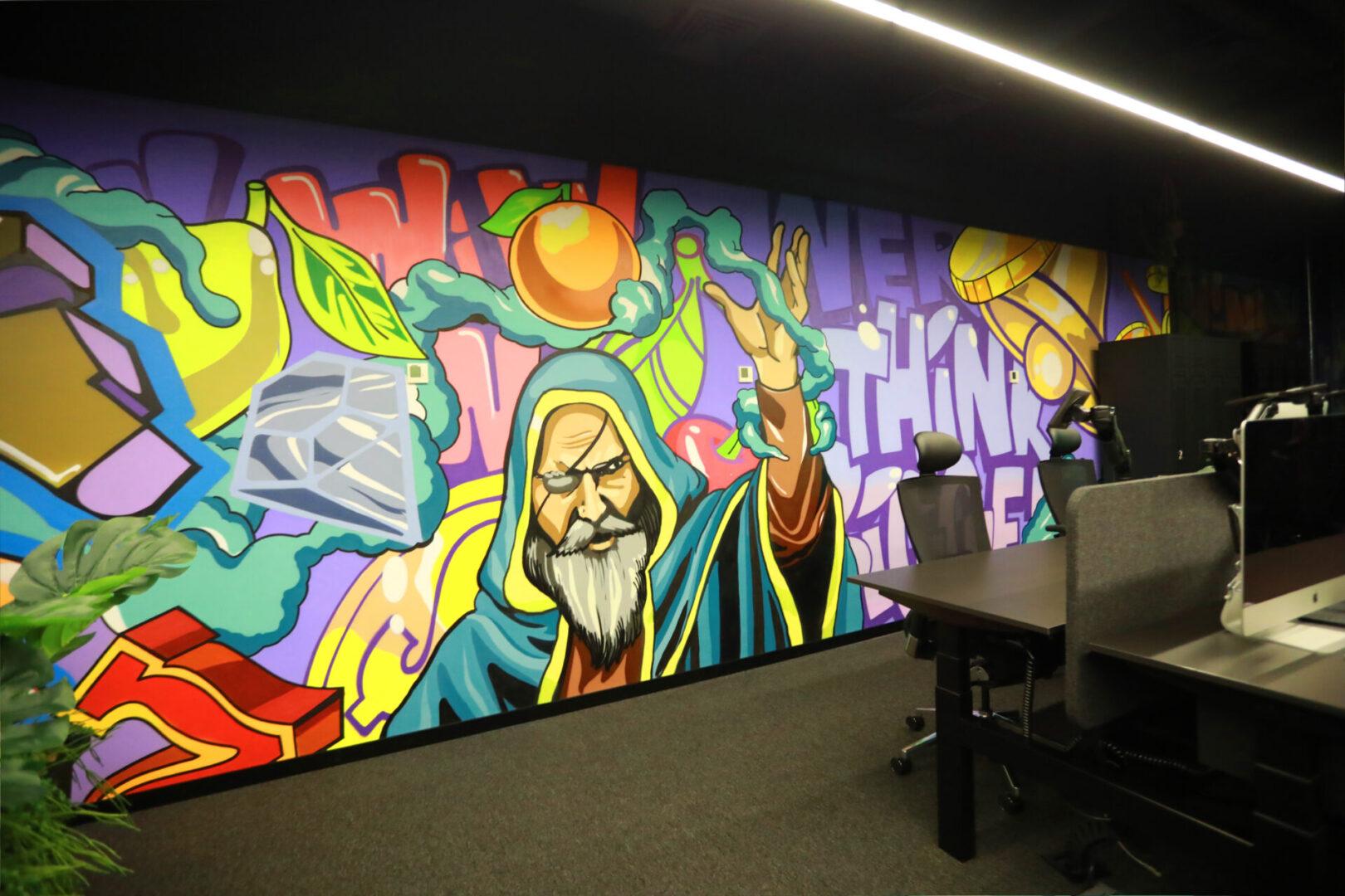 Художественное оформление офиса IT компании стена рисунок мага