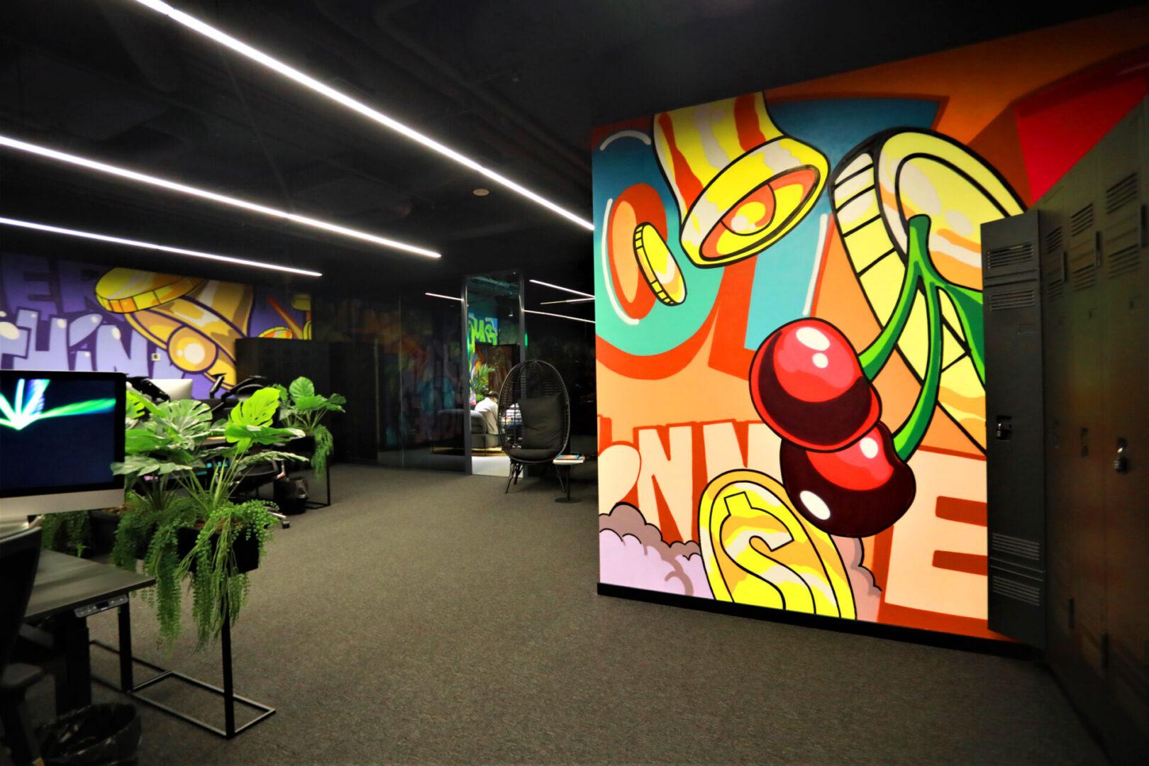 Художественное оформление офиса IT компании (часть 2) UT-ART STUDIO вишенка