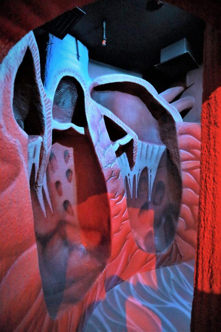 Художественное оформление аттракциона «Внутри человека» в парке развлечений «Galaxy» сердце в разрезе