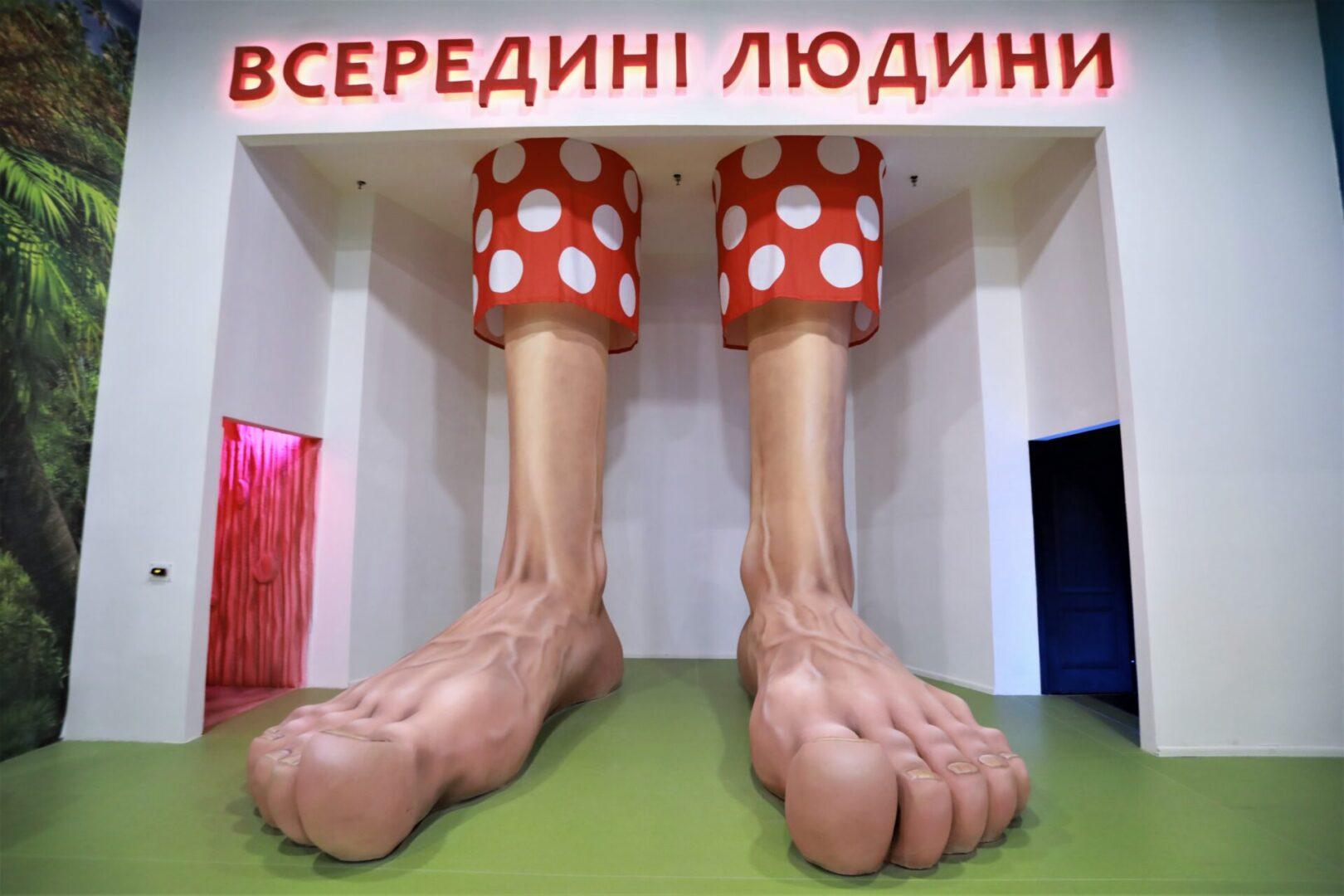 Художественное оформление аттракциона «Внутри человека» в парке развлечений «Galaxy» ноги передний план