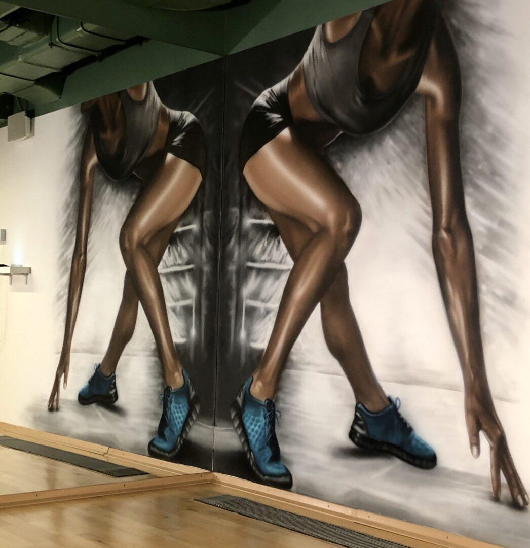 Роспись стен в GYMMAXX спортсмен