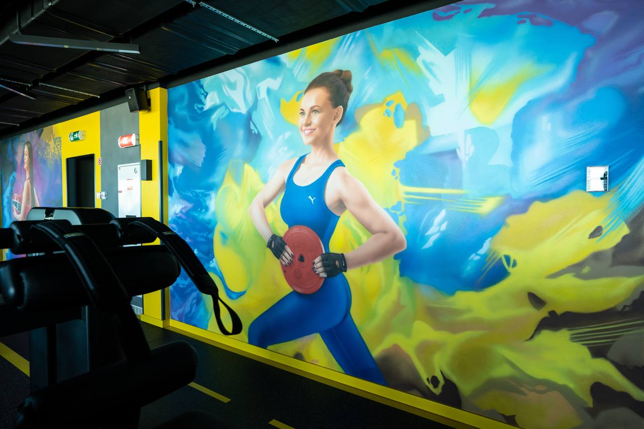 Роспись стен в спортзале офиса Епицентра фитнес