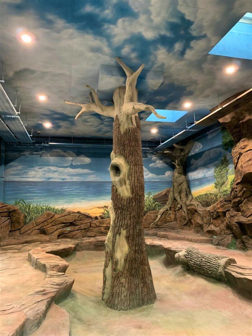 Роспись вольера на заказ в Киевском зоопарке дерево с дуплом